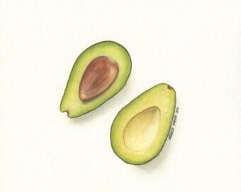 Small Avocado #2 - ORIGINAL Painting (Still Life Wall Art) 7x8in