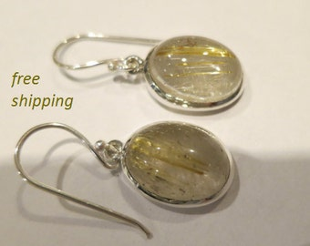 Silver rutilated gemstone earrings; 92.5 sterling silver
