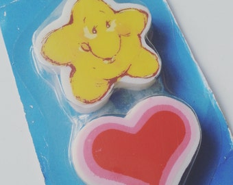 Carebears, care bears, new in pack, Vintage, retro, erasers, rubbers, 1980s, 80s, star, love heart, by NewellsJewels on etsy