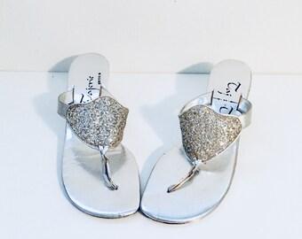 80s Silver Metallic Sandals Slides Mules Heels Size 8 M 38 39