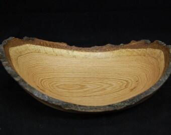 Oak natural-edge wood bowl