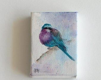Miniature Bird Painting, Original Watercolor Lilac Breasted Roller Art, Miniature Canvas Painting, Doll House bird paintingas