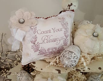 "Fall ""Count Your Blessings"" Lavender Sachet With White Ribbon and Rust Back"