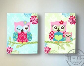 """Owl Nursery Decor - OWL canvas art, Baby Girl Nursery Owl Decor 10""""x 12"""" nursery art , Baby Girl Room Decor, Nursery Wall Art"""
