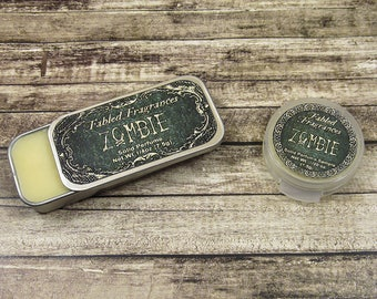 ZOMBIE Solid Perfume with Rain, Linen, Chypre, Black Musk, Dirt, Basement, Vegan Perfume Balm, Halloween Perfume, Horror, TAT 5-8 Days