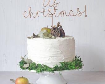 Christmas Cake Topper, Christmas Cake Decor, Its Christmas Cake Topper, Copper Christmas, Gold Christmas, Copper Cake Topper, Christmas Gift