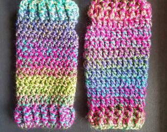 Fingerless Gloves - Chunky - Rainbow