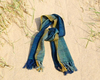 Luxurious handwoven wool scarf in petrol teal, blue, green and gold merino and Shetland wool
