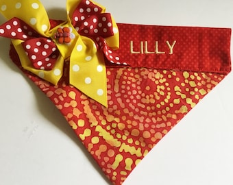 Red & Yellow Summer Bandana for Dogs and Cats with Corner Bow and Embroidered Name