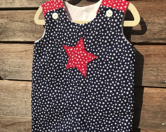Patriotic Outfit for Toddler Boy, July 4th Romper or Jon Jon, Toddler One Piece Outfit, Red, White, and Blue Shortall, Sunsuit for Toddler