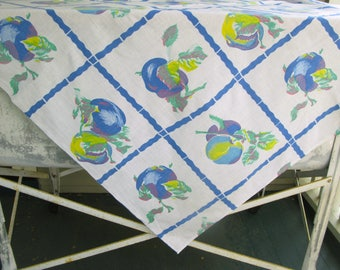Vintage  CottonTablecloth Fruit and Flower Print