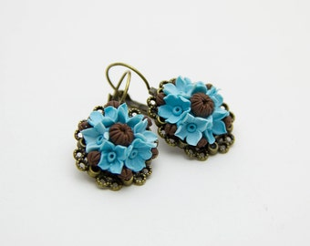 Flower Earrings Floral Earrings Turquoise Earrings Flower Jewelry Chocolate jewelry Vintage earrings Turquoise jewelry Blue earrings