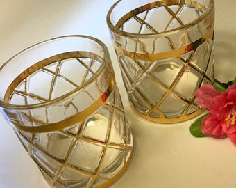 Pair of Altuzarra 18k gold gilt lattice cocktail glasses