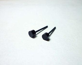 Black Dot Stud Earrings 4mm, Round Stud Earrings