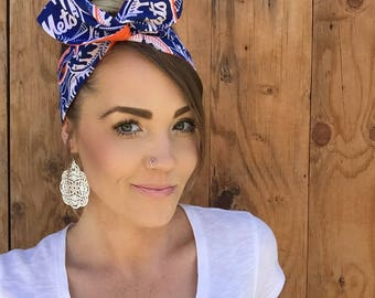 New York Mets Dolly Bow Reversible Pinup Rockabilly Dolly Bow Twist NY Blue White Orange Baseball Headband Headscarf Hair Band Head Wrap