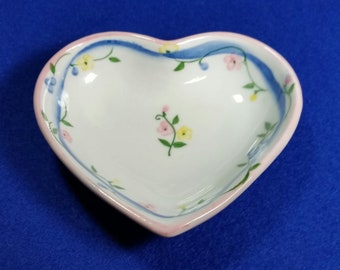 Andrea by Sadek Floral Heart Trinket Dish/Vintage Floral Trinket Dish/Heart Shaped Jewelry Dish/Floral Dish/