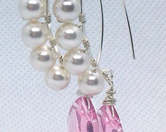 Pink Swarovski briolette drops and pearls sterling silver arc earrings