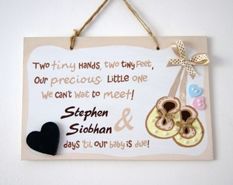 Hand-painted Baby Countdown Plaque. Gift for Parents-to-be. Baby Shower. Baby booties plaque with chalkboard heart. Expectant parents.