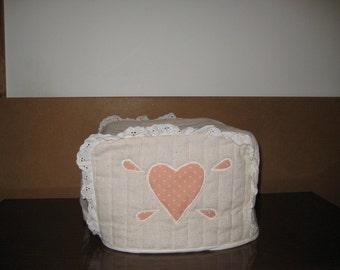 4 Slice Square Toaster Cover Peach Heart Design