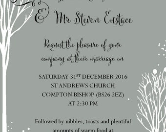 Wedding Invites Grey with snow A6