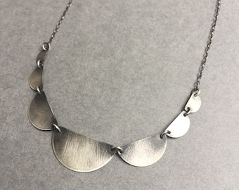 Large Silver Scallop Necklace, Sterling Silver Antiqued Scallop Necklace