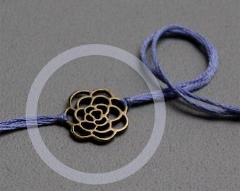 best friend gift valentines day wish bracelet friendship bracelet brass rose charm lavender thread wishlet wedding jewelry bridesmaid gift