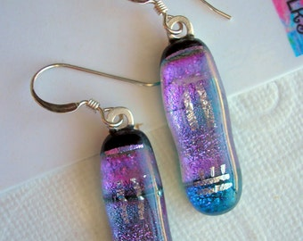 Blue Violet with Silver Earrings, Dichroic  Glass, 925 Sterling Earwires, Fused Glass Jewelry, Purple Sparkle Earrings, Dangle Drop Earrings