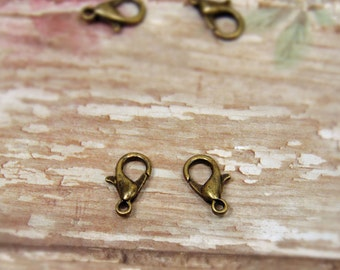 20 pcs - Antique Bronze - Lobster Clasps - Jewelry Clasps - Bracelet Clasps - Necklace Clasps - Jewelry Findings - Jewelry Supplies - F0021