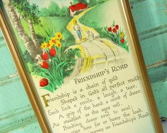 Vintage Framed Friendship's Road Motto Poem, Advertising Friend Motto with Calendar