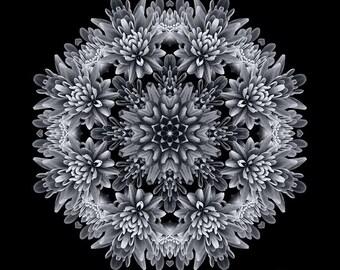 Mudita - Black and White Flower Mandala - Meditation Art