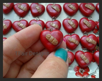 SALE 30 PACK Made to Order Heart w/Glitter Bandage Pendant CHD Awareness