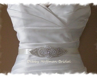 Wedding Belt, Crystal Pearl Bridal Sash, Pearl Jeweled Wedding Sash, Pearl Crystal Wedding Dress Belt, No. 4030S5070, Bridesmaid Belt, Sash