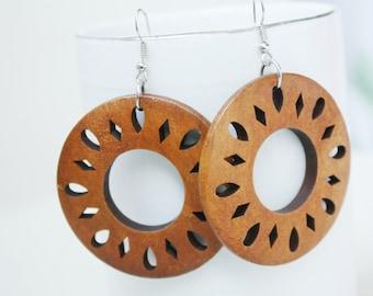 Buy 3 get 1 Free///Nataural  North Star Laser cut Wood Earring