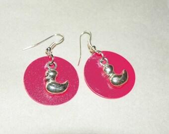 Duck Earrings Easter Earrings Easter Jewelry Ducky Earrings pink earrings silver earrings Cute Easter Earrings Easter Duck Earrings present