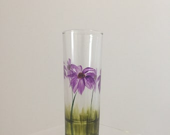 Hand Painted Glass, Purple Cone Flower, Custom Art, Painted Shot Glass
