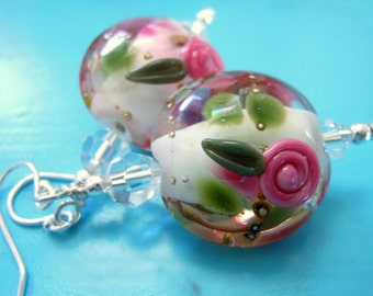 Pink Rose Earrings, Pink White Floral Lampwork Earrings, Beadwork Earrings, Flower Glass Bead Earrings, - Rose