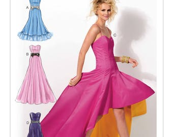 Sewing Pattern Misses' Sweetheart-Neckline Dresses, McCall's # 6701, Prom Dress, Special Occasion, High-Low Hem Option, Floor Length Dress