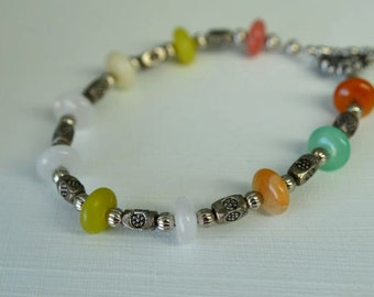 Colorful Agate and Pewter Large Bracelet . 9 inches long . Handmade in Maine