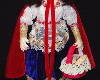 "Red Riding Hood 15"" Cloth Doll By Caroline Erbsland Signed One Of  A Kind"