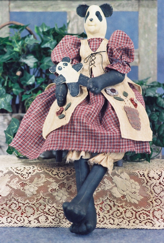 Amanda - Mailed Cloth Doll Pattern  24in Country Girl Panda Bear