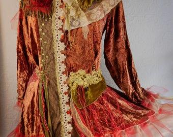 "RESERVED Exuberant Vest in velvet rust ""Gisèle"", Art to wear, Unique, Feminine"