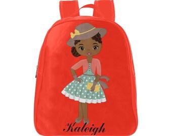 Cute Preschool Backpack,  Black Girl Backpack ,Small Book bag, Red Backpack , Mini Rucksack, Kindergarten Backpacks, Backpacks For Girls
