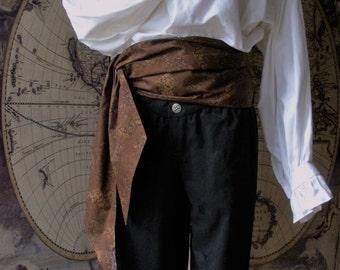 Pirate Sash,  Cotton. Brown