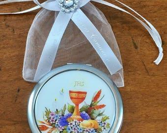 12 Mirror With Personalized Ribbon First Communion Favor  Primera Comunion Recuerdo Con Rosario Personalizado
