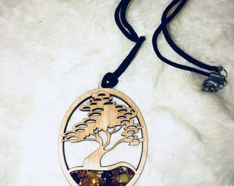 Tree of Life Baltic Sea Amber Balsa Wood Pendant Necklace