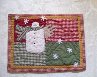 Mug Rug, Snowman, Quilted, Four Patch, Homespun, Rustic, Folk Art, Snack Mat