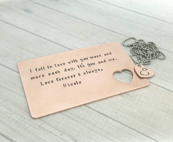 Wedding Gift Card Sayings: Hand Stamped Wallet Insert Copper Wallet Card