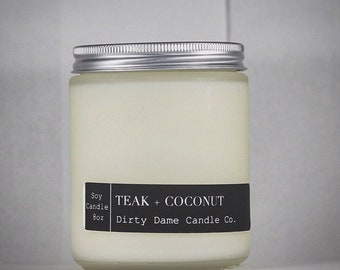 Teak+Coconut Fragrant 8oz candle, Soy Candle, Room Scent, Home Goods, Home Decor, Gift for her