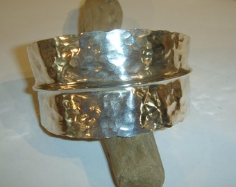 Silver Leaf bracelet cuff-hammered and forged metalsmith work-Handmade