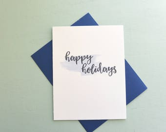 Letterpress and Watercolor Holiday Card - Happy Holidays Card - HOL-569
